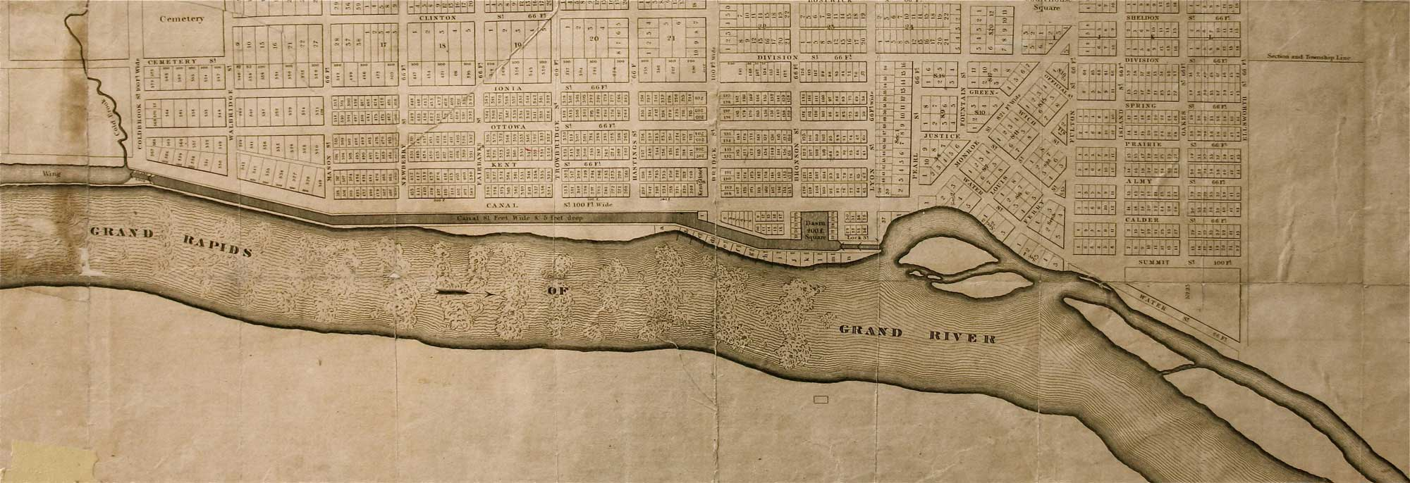 Antique Map, Grand Rapids of Grand River